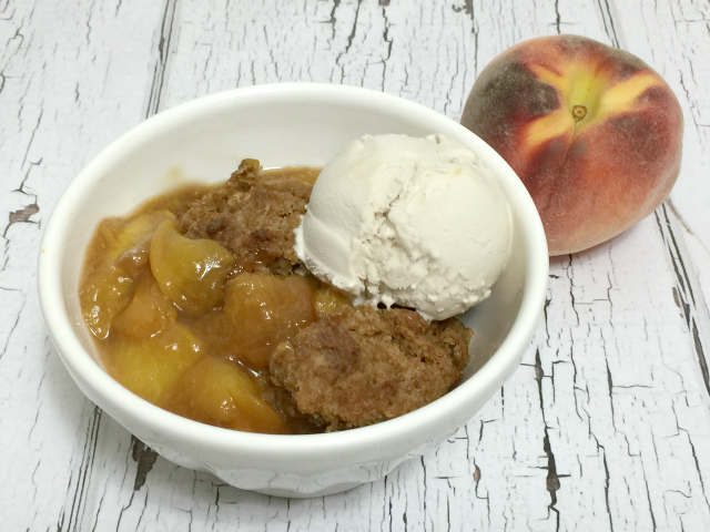 Bourbon Peach Cobber, gluten-free, vegan, dairy-free, egg-free | In Johnna's Kitchen
