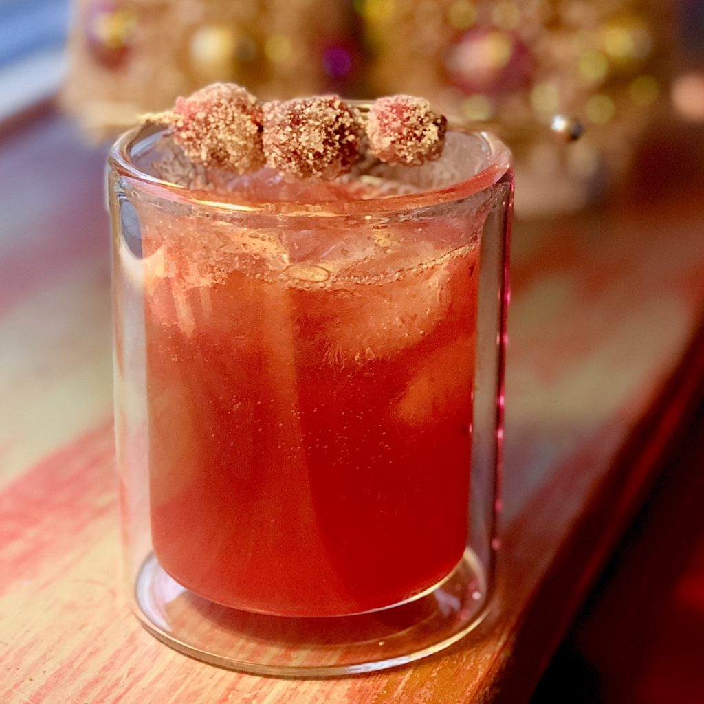 Boozy Advent Cranberry Bourbon Fizz
