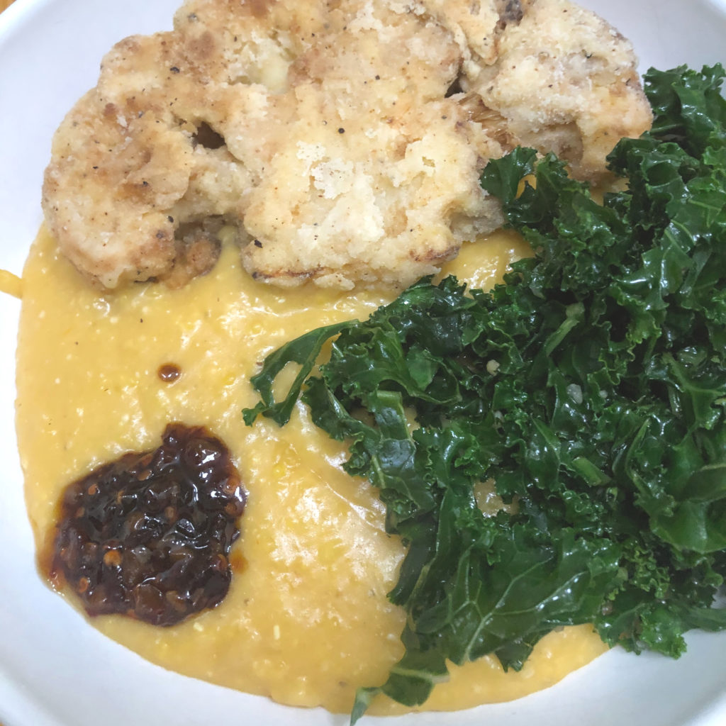Cheese Grits with chicken fried cauliflower and kale | In Johnna's Kitchen