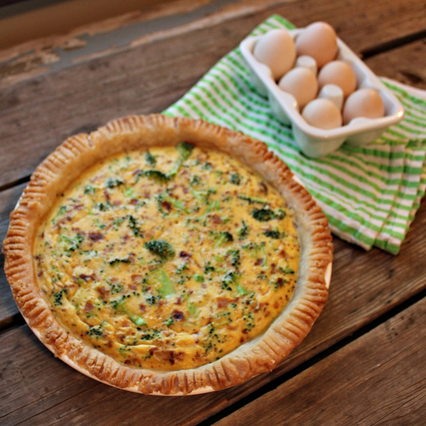 Cheesy Broccoli Bacon Quiche | In Johnna's Kitchen