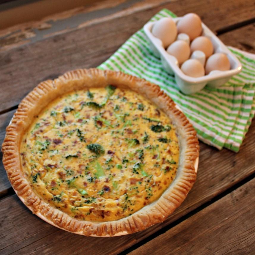 Cheesy Broccoli Bacon Quiche | In Johnna's Kitchen